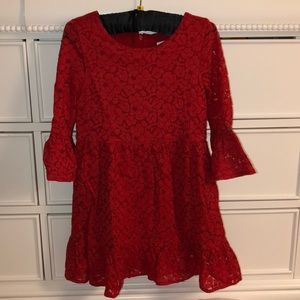 Gap Girls Lace Red Dress with butterfly sleeves